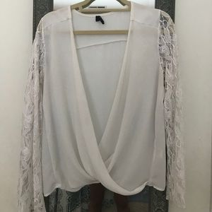 Nasty gal white lace sleeve top